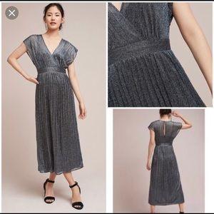 Anthropologie Metallic Wrap Dress Sz 10 NWT